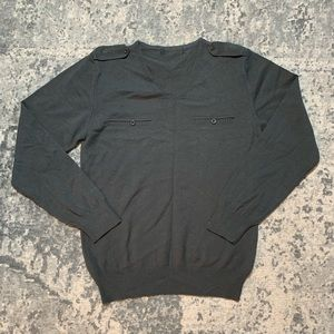 NWOT Charcoal grey military style sweater S